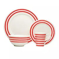 Red Vanilla Red Race Stripe White Dinner Set (Set of 16)